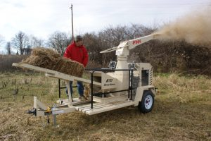 Raindrop erosion prevention with straw blowing